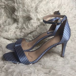 Kelly & Katie blue & white stripped open toe heels